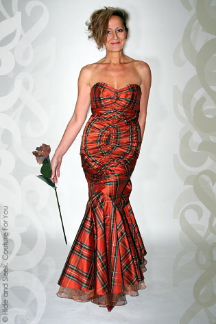 Hide Amp Sleek Designs Silk Gown In Rust Tartan